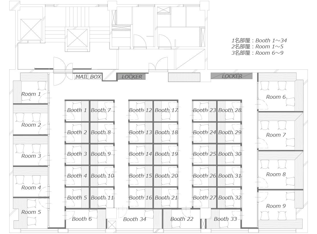 上野店シェアオフィス店内マップ